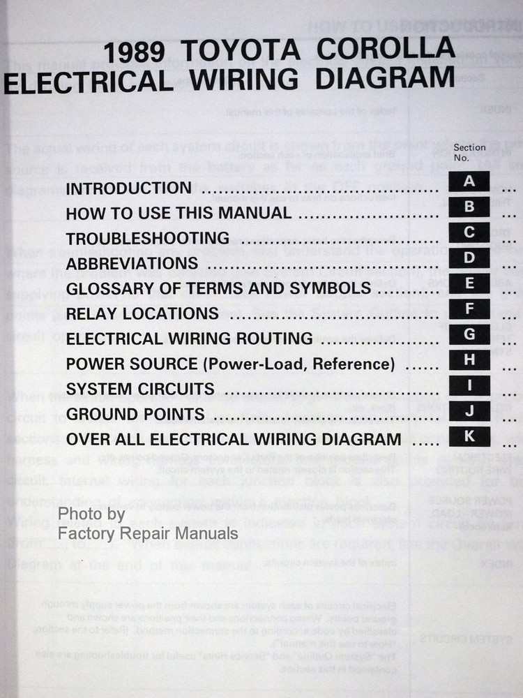 1989 toyota corolla electrical wiring diagrams table of contents