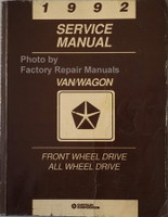 1992 Chrysler Van/Wagon Front Wheel Drive and All Wheel Drive Service Manual