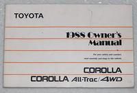 1988 TOYOTA COROLLA ALL-TRAC 4WD Original Owners Manual Dealer Owner's Booklet