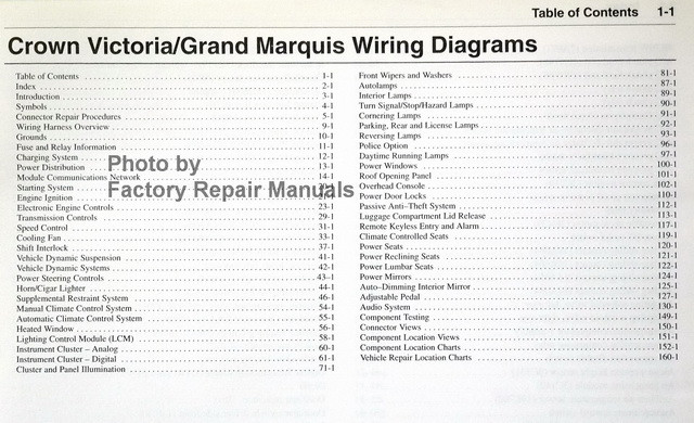 wiring diagrams ford mercury 2005 crown victoria, grand marquis table  of contents