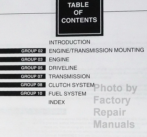1997 Ford F250HD F350 F-Super Duty Service Manual Table of Contents Part 1