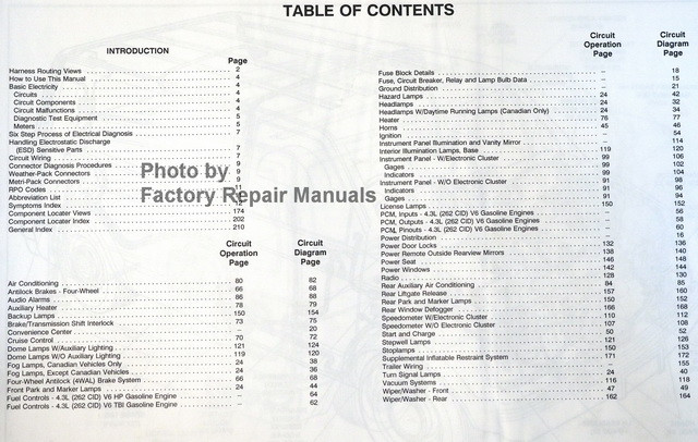 1990 chevrolet trucks c/k pickup electrical diagnosis and wiring  diagrams table of contents