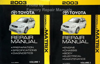 2003 Toyota Corolla Matrix Repair Manual Volume 1, 2
