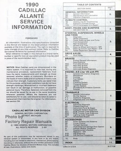 1990 cadillac allante factory service manual table of contents