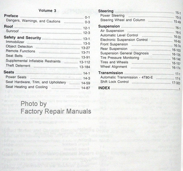 2010 Cadillac DTS Service Manual Table of Contents 2