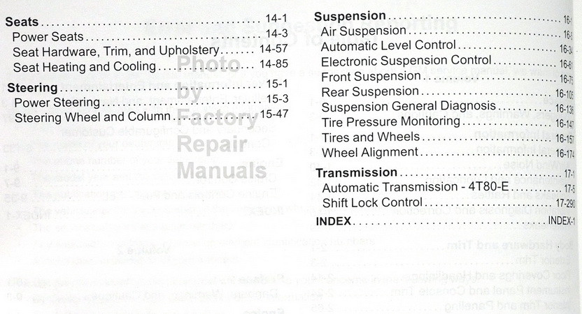 GM 2011 Cadillac DTS Service Manual Table of Contents 2