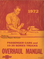 1972 Chevy Car, 10-30 Truck & Van Overhaul Manual Original Repair
