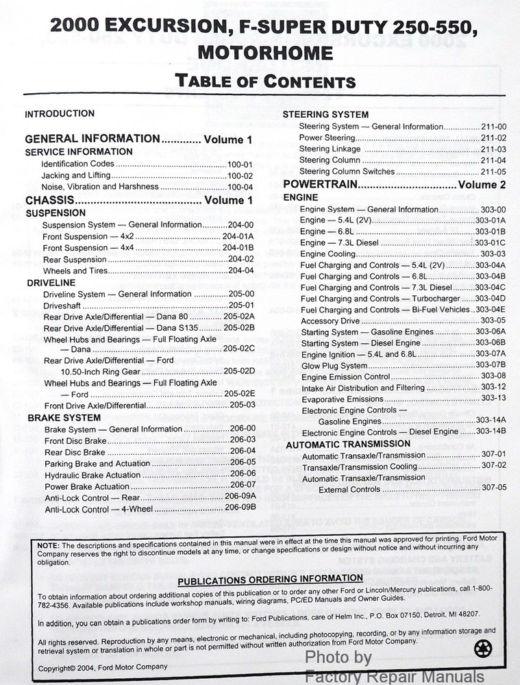 2000 ford f250 f350 f450 f550 super duty truck excursion factory 2000 ford f250 f350 f450 f550 super duty truck excursion service manuals table of contents