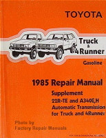 Toyota Truck & 4Runner Gasoline 1985 Repair Manual Supplement