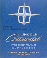 1968 Lincoln Continental Shop Manual Supplement