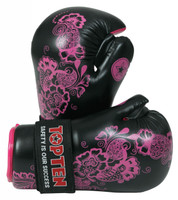 "TOP TEN Pointfighter Gloves ""FLOWERS"" Black/Pink"