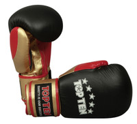 "TOP TEN ""FIGHT"" 10oz Boxing Gloves Tricolour Black/Gold/Red"