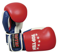 "TOP TEN ""FIGHT"" 10oz Boxing Gloves Tricolour Red/White/Blue"