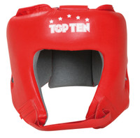 "TOP TEN ""AIBA"" Boxing Head Guard - with label - Red"