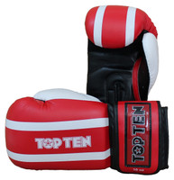 "Boxing-/Sparring Gloves TOP TEN ""Stripe"" 10/12/16oz RED (2274-40)"