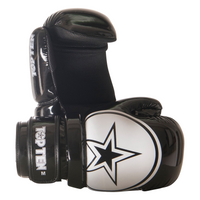 "TOP TEN POINTFIGHTER GLOVES ""BLOCK"" - NEW DESIGN SHINY BLACK/WHITE STAR (21655-91)"