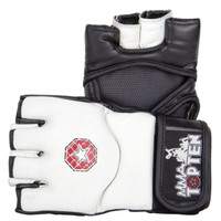 "TOP TEN MMA GRAPPLING GLOVES ""E-FLEXX"" WHITE/BLACK (2331-1)"