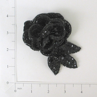 Dimensional Rose Sequin Applique - SM3174BK