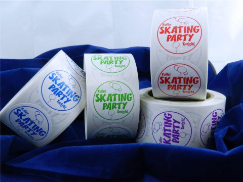 "These ""Roller Skating Party Tonight"" stickers are an incredibly popular item for use during parties.  Available in red, green, blue or purple. Each roll consists of 500 stickers.  Mix and match rolls!"