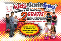 Kids Skate Free Postcards - SPANISH