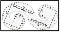 These transparent guides are used for Loop Skating. Use the template with a projector to mark the loops on the floor.