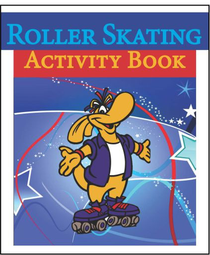 9 page activity book that includes: The Story of Roo, 3 Roo and Kooky coloring pages, 1 word search, 2 mad libs, 1 maze, a roller skating informative page.