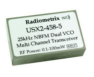USX2 -  Multi-channel UHF Transceiver with Programmable RF power Frequency 458 MHz band UK 433MHz Band EU
