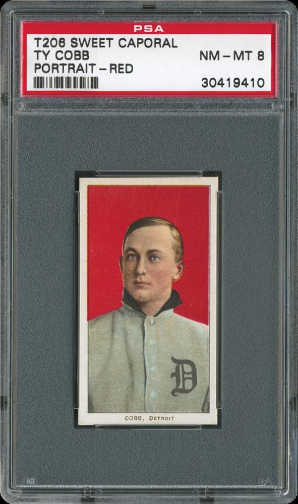1909-1911 T206 Ty Cobb PSA Portrait-Red