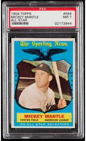 1959 Topps Mickey Mantle All-Star #564 HOF PSA 7- Centered & High End