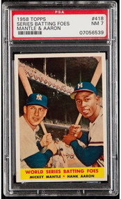 1958 Topps Batting Foes Mickey Mantle/Aaron #418 HOF PSA 7-High End