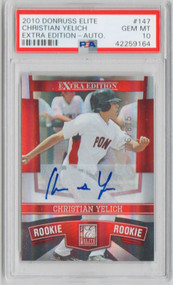 2010 Donruss Elite Christian Yelich RC Rookie Auto #147 PSA 10 Gem Mint