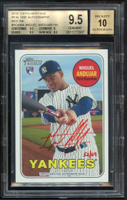2018 Topps Heritage Real One Autographs Red Ink Miguel Andujar Rookie RC Card BGS 9.5 Gem Mint /69
