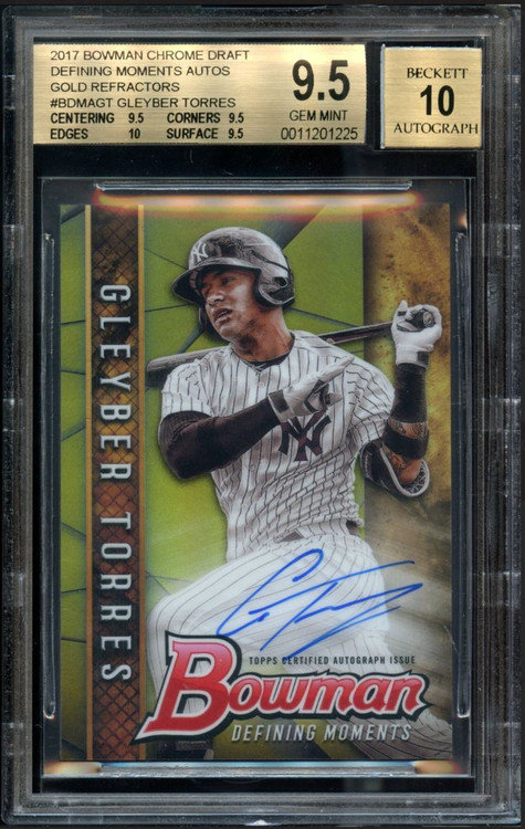 2017 Bowman Chrome Draft Defining Moments Gold Refractors Gleyber Torres Rookie RC Auto #BDMAGT BGS 9.5 Gem Mint /50