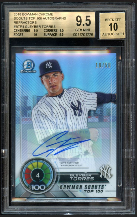 2018 Bowman Chrome Scouts Top 100 Refractors #BTP4 Gleyber Torres RC Rookie Auto BGS 9.5 Quad Gem Mint /50