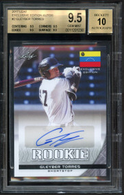 2017 Leaf Exclusive Edition Gleyber Torres Rookie RC Auto #2 BGS 9.5 Quad Gem Mint