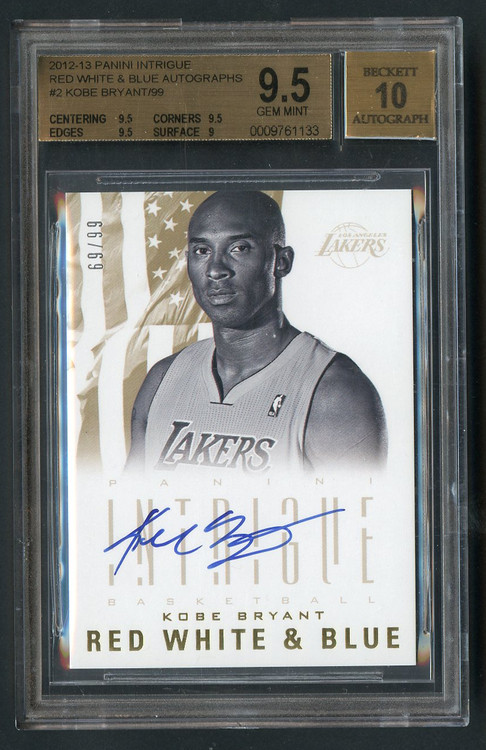 2012 Panini Intrigue RW&B Autographs Kobe Bryant BGS 9.5 Gem Mint /99
