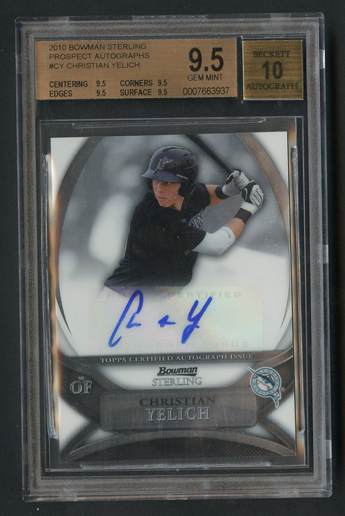 2010 Bowman Sterling Christian Yelich RC Rookie Auto #CY BGS 9.5 Gem Mint