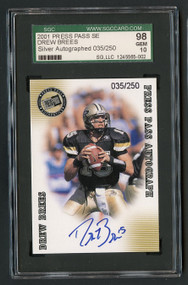 2001 Press Pass SE Drew Brees RC Rookie Auto /250 SGC 10  Gem Mint