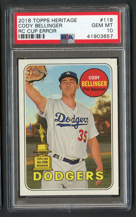2018 Heritage Cody Bellinger RC Cup Error #118 PSA 10 Gem Mint
