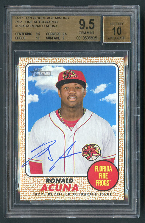 2017 Topps Heritage Real Ones Ronald Acuna RC Rookie Auto BGS 9.5 with 10 sub
