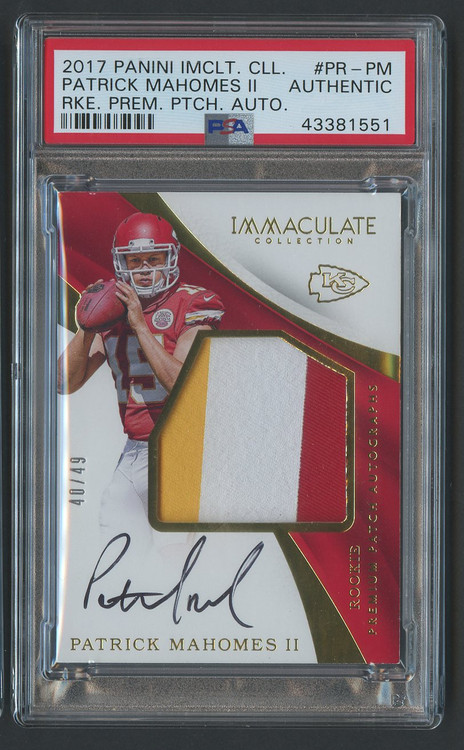 2017 Immaculate Patrick Mahomes RC Rookie Auto 3-Color Patch RPA PSA Authentic