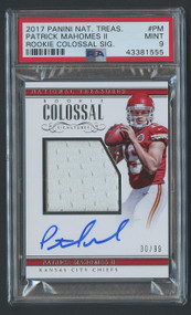 2017 Nat. Treasures Rookie Colossal Patrick Mahomes RC Auto Patch PSA 9 Mint