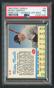 1962 Post Cereal Mickey Ad Back Life Mantle HOF #5 PSA 7
