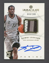 2012-13 Immaculate Kawhi Leonard Spurs RPA RC 3-Color Patch AUTO 44/100