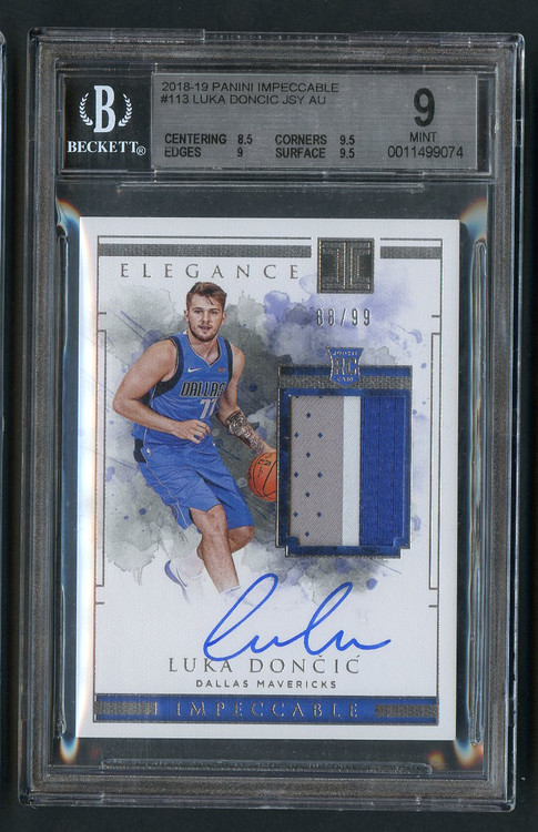 2018 Impeccable Luka Doncic RC Rookie 3-color Jersey Auto RPA BGS 9 Mint w/10 auto