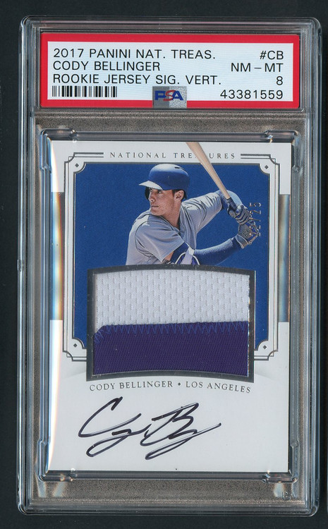 2017 National Treasures Cody Bellinger Rookie RC Auto Patch #CB PSA 8