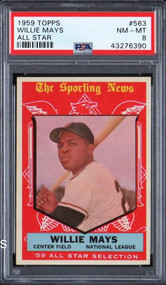 1959 Topps Willie Mays All-Star #563 HOF PSA 8-Centered