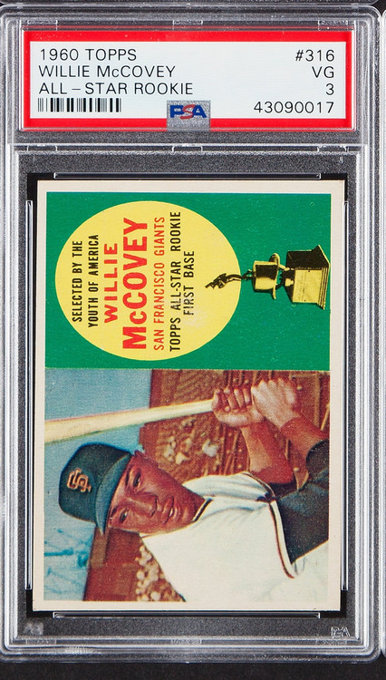 1960 Topps Willie McCovey RC Rookie All-Star #316 HOF PSA 3-Centered and Sharp Corners