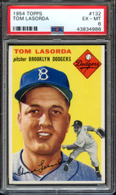 1954 Topps Tom Lasorda RC Rookie HOF #132 PSA 6-High End