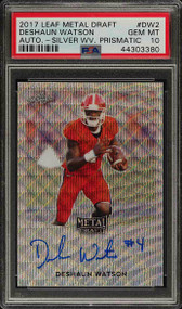 2017 Leaf Metal Draft Dashaun Watson RC Rookie Auto Silver Wave PSA 10 Gem Mint